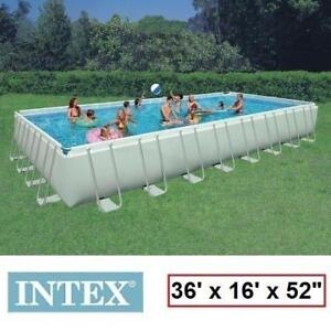 "NEW INTEX RECTANGULAR ULTRA FRAME POOL 28371CA 172474761 36'x16'x52"" - LADDER, SAND FILTER PUMP, GROUND COVER, POOL C..."