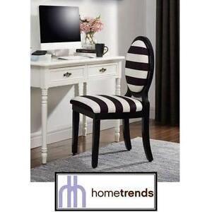NEW HOMETRENDS STRIPE ACCENT CHAIR BLACK WHITE OVAL BACKREST - CHAIRS SEATING SEATS FURNITURE DECOR ACCENTS DESK
