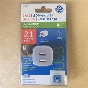 NEW,GE 21742 Led Night Light, with 2 USB, White