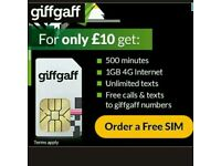 Giffgaff simcards free