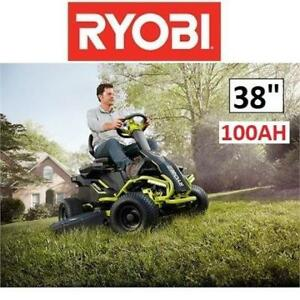"NEW RYOBI ELECTRIC RIDING LAWNMOWER RY48111 199090067 38"" 100AH BATTERY REAR ENGINE LAWN MOWER"