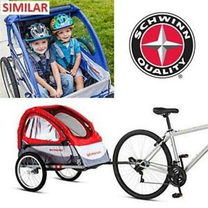 OB SCHWINN DOUBLE BICYCLE TRAILER 13-SC671B 256759932 PACIFIC CYCLE TRAILBLAZER RED TWO SEATS MAX WEIGHT 80LBS OPEN BOX