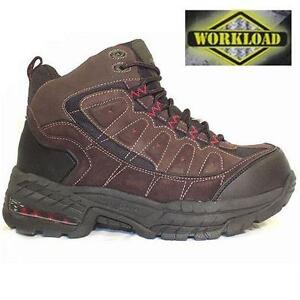 NEW WORKLOAD SAFETY BOOTS MEN'S 8 TITANIUM COATED TOE SHOE - BROWN - CSA WORK - STEEL TOE WORK