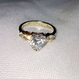 9ct gold plate solid silver cz heart ring Sz L
