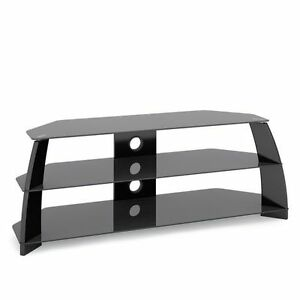 Glossy Black TV Stand with Glass Shelves