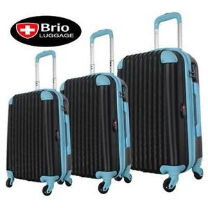 NEW BRIO 3PC SPINNER LUGGAGE SET NAVY AND BLUE SUITCASE TRAVEL GEAR BAG