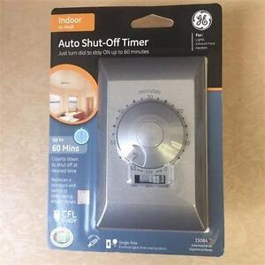 NEW, GE 15084 60 Minute Countdown Timer Single Pole Single Throw Silver