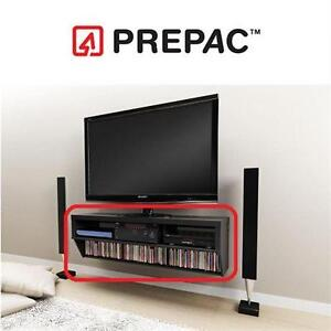 "NEW PREPAC WALL MOUNTED TV CONSOLE 58"" WIDE AV CONSOLE - BLACK - SERIES 9 DESIGNER COLLECTION - FURNITURE"