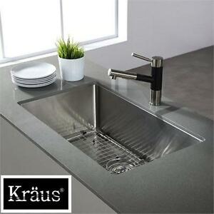"NEW KRAUS 30"" UNDERMOUNT SS SINK SINGLE BOWL - 16 GAUGE STAINLESS STEEL - KITCHEN SINK 74072695"