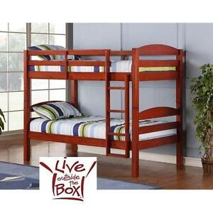 NEW* WE TWIN SOLID BUNK BED WALKER EDISON TWIN SOLID WOOD BUNK BED - CHERRY - FURNITURE BEDROOM BEDS DECOR 101332925