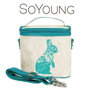 NEW SOYOUNG SMALL COOLER BAG SCB-AQBU-RU 245264136 LUNCH LEAKPROOF RAW LINEN AQUA BUNNY
