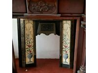 Solid mahogany fire surround with mirror and Victoria insert in great condition