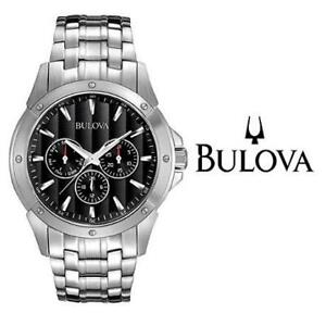 USED MENS BULOVA WATCH 96C107 242833284 CLASSIC CHRONOGRAPH BLACK DIAL  STAINLESS STEEL