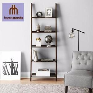 NEW HOMETRENDS 5-TIER SOLID WOOD BOOKCASE SOLID WOOD ESPRESSO LEANING BOOKCASE FURNITURE  90649164