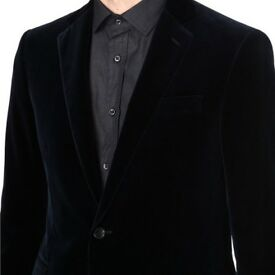 Black Designer Calvin Klein single breasted Velvet Pique jacket, two button 38S. Brand New