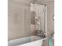 Bath screen hinged Burlington 850mm x 1450mm