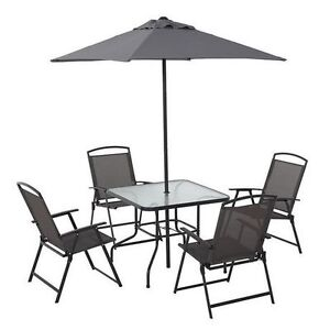 Brand New Mainstays 6 Piece Folding Patio Set - Blackish Color