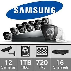REFURB SAMSUNG 16CH SECURITY SYSTEM 16 CH 960H 1TB Hard Drive 12 720TVL Weatherproof Cameras, 82' Night VISION  79663322