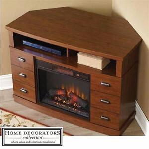 "NEW HDC 48"" FIREPLACE MEDIA CONSOLE HOME DECORATORS CORNER WALNUT ELECTRIC FIREPLACES FIREBOXES MANTLE MANTLES  84022509"