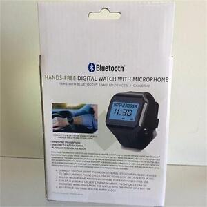 NEW, Hands-Free Bluetooth Digital Watch with Microphone in Black