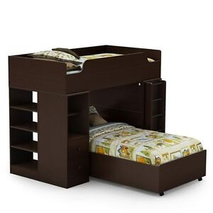 Mocha twin bunk bed with drawers and desk with lamp