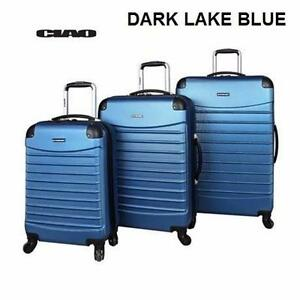 NEW 3PC CIAO SPINNER LUGGAGE SET   DARK LAKE BLUE - HARD-SIDE - VOYAGER BAG - SUITCASE LUGGAGE SPINNER TRAVEL 92647534