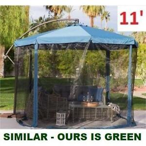 NEW 11' OFFSET PATIO UMBRELLA 185072932 WITH MOSQUITO NET FORREST GREEN