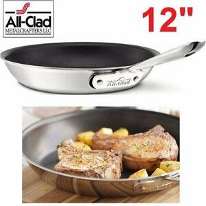 """NEW ALL-CLAD NON-STICK FRY PAN 12""""   BRUSHED STAINLESS STEEL - COOKING KITCHEN COOKWARE SKILLET 99060121"""