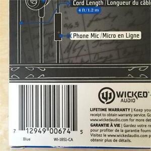 NEW, Genuine Wicked Audio Deuce Earbuds WI-1851 BLUE
