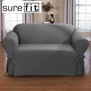 """NEW SUREFIT LOVESEAT COVER BRUCE GREY RELAXED FIT - 72"""" MAXIMUM - FURNITURE COVER 102000785"""