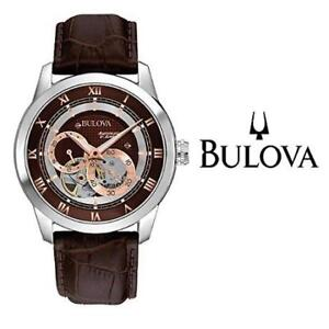 USED MEN'S BULOVA BVA CLASSIC WATCH 96A120 216228938 SERIES DUAL APERTURE DIAL MECHANICAL AUTOMATIC LEATHER STRAP