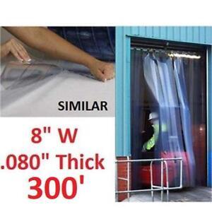 "NEW STRIP DOOR CURTAIN ROLL 8""x300' E5GPB00448 221953351 CLEAR 80mil THICK PLASTIC VINYL"