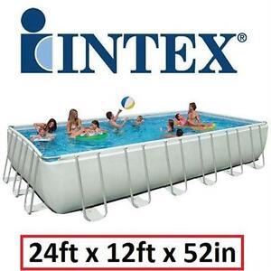 "NEW INTEX 24'x12'x52"" ULTRA POOL SET ULTRA FRAME Hot Tubs Supplies Swimming Pools PATIO LAWN GARDEN SWIM"