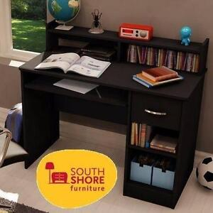 NEW* SOUTH SHORE COMPUTER DESK BLACK - FURNITURE - HOME - OFFICE BUSINESS STUDY WORK STATION 92599768