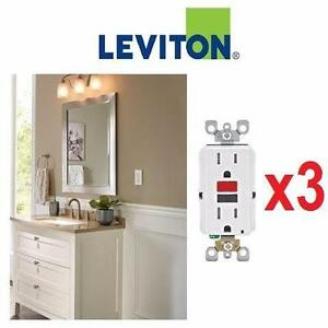 3 NEW LEVITON DUPLEX GFCI OUTLETS 1 BOX OF 3 - 15 Amp 125-Volt SmarTest Self-Test SmartlockPro Tamper Resistant 89045533