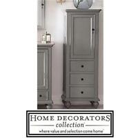 NEW HDC NEWPORT LINEN CABINET HOME DECORATORS COLLECTION - PEWTER FINISH - BRONZE FINISH ON HANDLES DECOR FURNITURE
