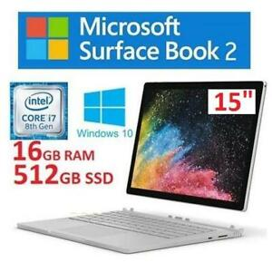 RFB MICROSOFT SURFACE BOOK 2 15 FUX-00001 251601803 I7 8TH GEN 16GB RAM 512GB SSD WINDOWS 10 REFURBISHED