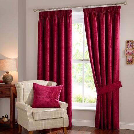 Curtains Ideas burgundy eyelet curtains : Chenille Eyelet Curtain - Cranberry, Burgundy, Dark Red, Maroon ...