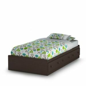 Twin Bed Frame with Drawers (chocolate/brown), includes Mattress