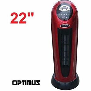 """NEW OPTIMUS PORTABLE TOWER HEATER   22"""" BLACK RED - OSCILLATING REMOTE DIGITAL - HEATERS HEATING AIR QUALITY  94816834"""