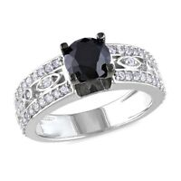 1.75 Carat T.G.W. Black Spinel, Sterling Silver Ring
