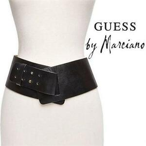 "NEW* GUESS HIP BELT WOMEN'S XS/SM LEATHER 4"" WIDE BELT - WHITE WOMEN CLOTHING FASHION 99694082"