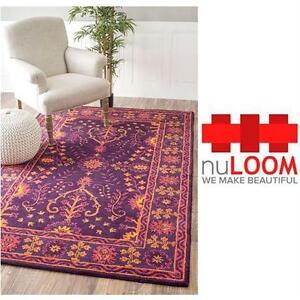 """NEW NULOOM GITA PURPLE AREA RUG 7'6""""x9'6"""" Home Flooring decor furniture"""