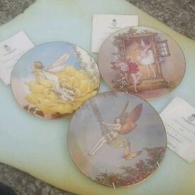 3 fairy collectable wall hanging plates