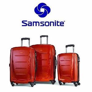 NEW SAMSONITE 3-PIECE LUGGAGE   SPINNER SET - ORANGE - LUGGAGE TRAVEL SUITCASE BAGGAGE VACATION 97796554