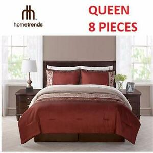 NEW HOMETRENDS DOUBLE BED-IN-A-BAG   8 PIECES - MAROC BURGUNDY CREAM HOME BEDDING BLANKET COMFORTER 93773778