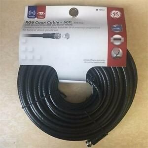 NEW, GE Burial Grade RG6 Coax Cable with Ground Wire DBS, 50 Feet Model #73342