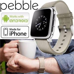 REFURB PEBBLE TIME STEEL SMARTWATCH ELECTRONICS - WATCHES - WORKS WITH SELECT ANDROID IOS PHONES - LIGHT GREY 84216009