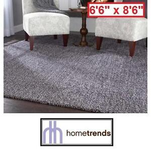 "NEW HOMETRENDS GREY SHAG AREA RUG 6'6"" x 8'6"" - SHAG IN A BAG - GREY - FLOORING DECOR RUGS CARPET CARPETS SHAGS"