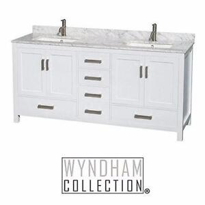 "NEW* WC SHEFFIELD 72"" DOUBLE VANITY WYNDHAM COLLECTION WHITE - W/ MARBLE TOP IN CARRARA WHITE BATHROOM CABINET  85220974"
